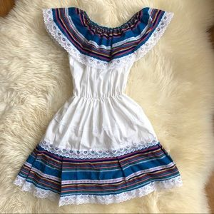 Colorful Mexican Style Ruffled Dress